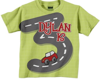 Boy's Number Shirt, Personalized Child's Car Birthday T-Shirt