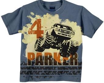 Boys Monster Truck Shirt, Personalized Birthday T-Shirt, Boys Shirt, Boys Top