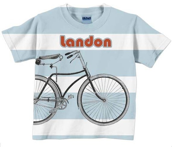 Boys Bicycle T-Shirt, Personalized Blue Stripe Shirt