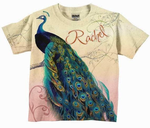 Girls peacock t shirt personalized shirt custom for Unique custom t shirts