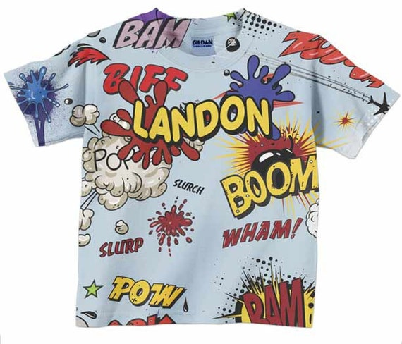 Boom Pow Comic Shirt, Boys Personalized Superhero Birthday Top, Childrens Clothing