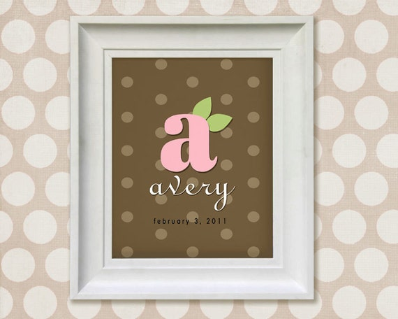 Nursery Wall Art Print - Brown and Pink Monogram 8x10 Personalized Baby Room Decor