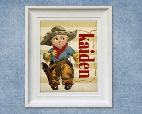 Childrens Art Print - 11x14 Personalized Cowboy Western Baby Room Decor
