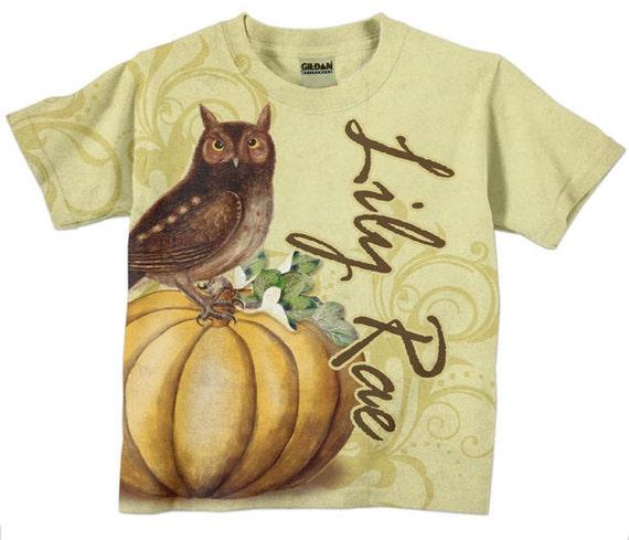 Girl's Owl Shirt, Personalized Pumpkin T-Shirt, Childrens Clothing