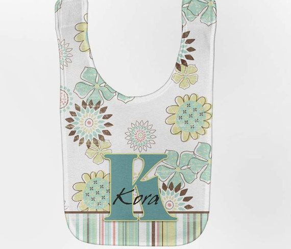 Personalized Baby Bib - Retro Flowers Monogram, Custom Bib