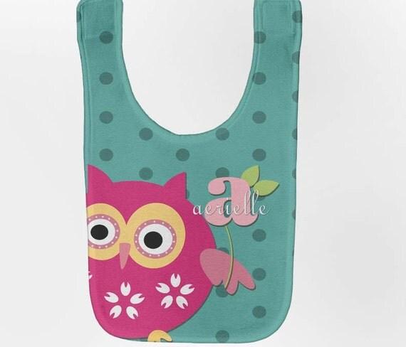 Owl Baby Bib - Personalized Aqua Monogram Infant Bib