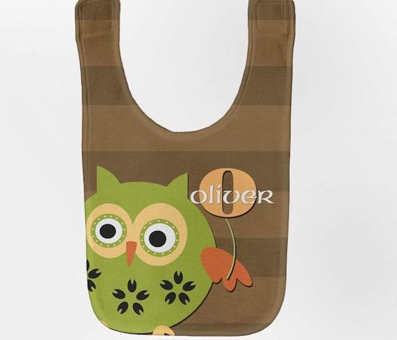 Owl Baby Bib - Personalized Woodland Infant Bib