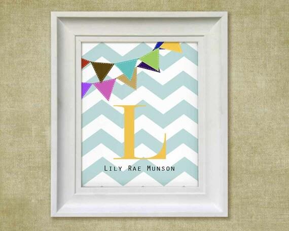 Chevron Art Print - Children's 11x14 Personalized Banner Baby Room Decor