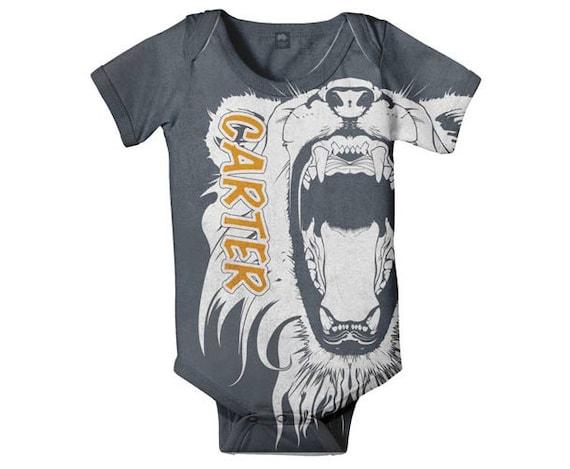 Lion Baby Bodysuit Personalized Infant Boy Clothing Custom