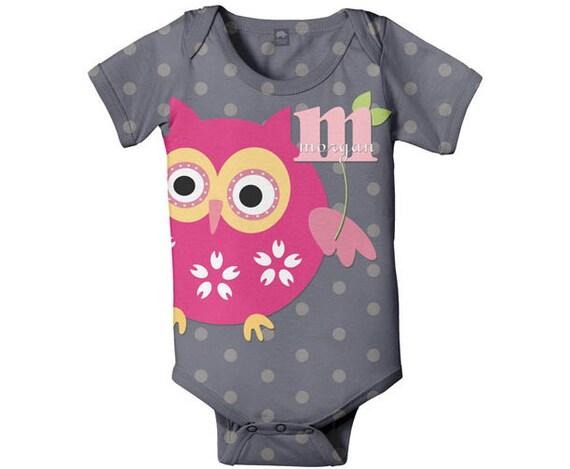 Personalized Owl Bodysuit, Baby Pink Owl Infant Romper, Custom One-Piece