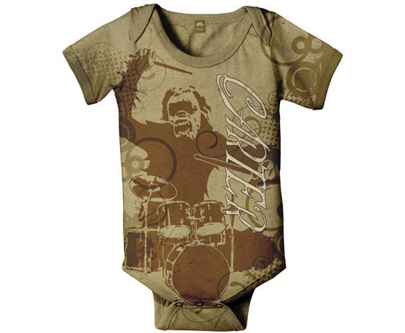 Gorilla Baby Bodysuit, Personalized Drum Set Infant Boy Snapsuit, Baby Boy Clothing, Onepiece