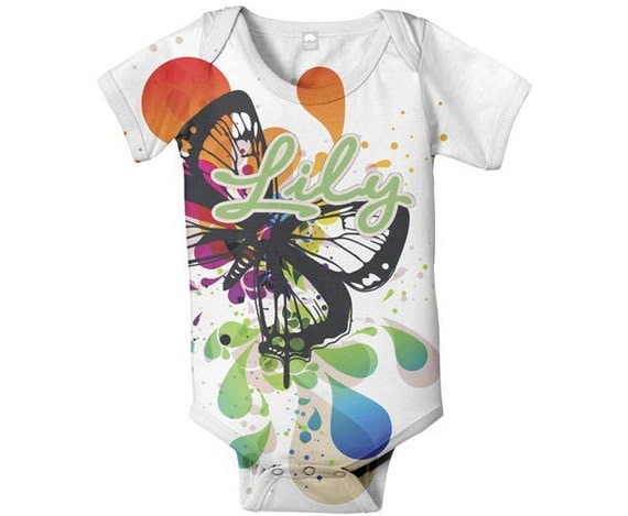 Personalized Baby Girl Romper Bodysuit, Butterfly Splash, Baby Clothing