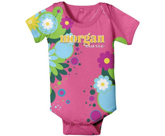 Personalized Baby Bodysuit, Pink Summer Flowers, Girl One-Piece