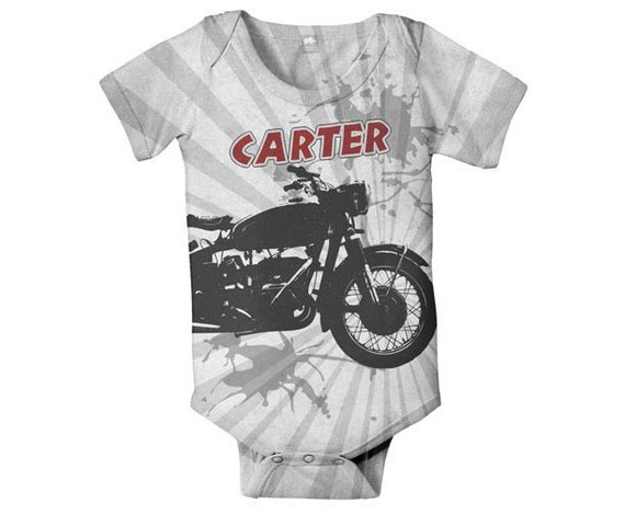 Motorcycle Baby Bodysuit, Personalized Boy's Onepiece, Custom Name One Piece Clothing