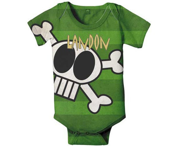 Skull Bodysuit, Personalized Pirate Baby Boy Snapsuit, Custom Onepiece Baby Clothing, Baby Boy One Piece