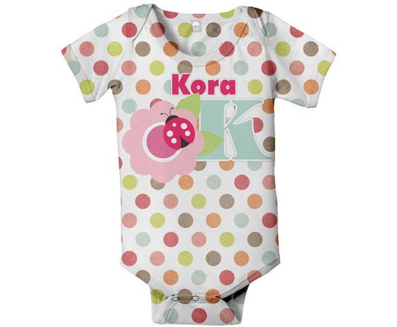 Polka Dot Baby Bodysuit, Personalized Girl's Flower Monogram Snapshirt
