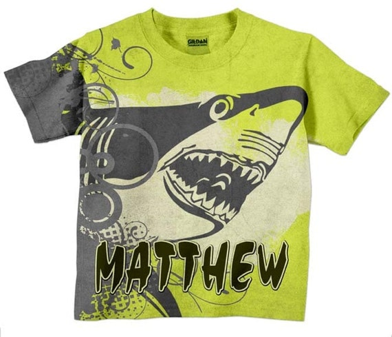 Boys Shark T Shirt, Personalized Name Toddler Tee T-Shirt, Clothing