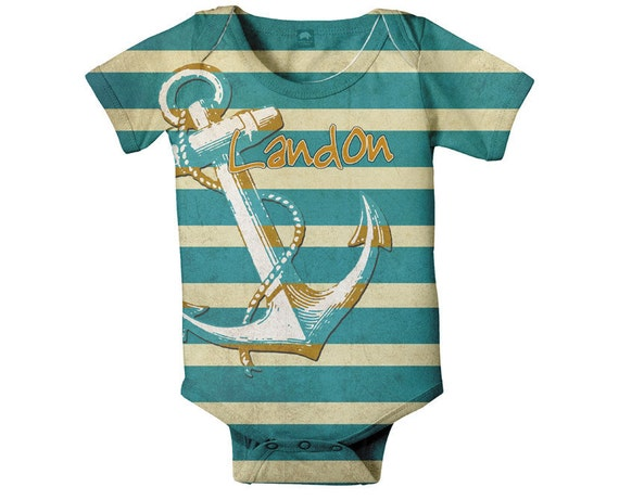 Nautical Baby Bodysuit, Personalized Anchor Infant Boy's Outfit, Custom Boy Onepiece Clothing