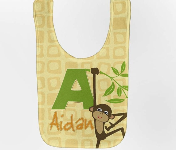 Monkey Baby Bib - Personalized Jungle, Zoo Infant Bib