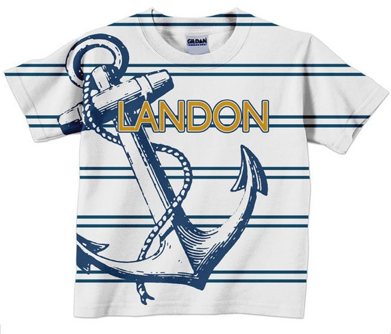 Anchor T-Shirt, Personalized Boys Nautical Childrens Clothing