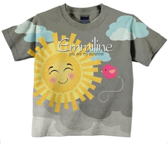 Sunshine T-Shirt, Girls Personalized Sun Shirt, You are my Sunshine Birthday Children's Clothing