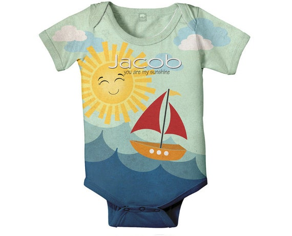 Personalized Sailboat Bodysuit, Nautical Baby Boy One Piece Clothing, Custom Baby Gift, Personalized Sunshine Birthday Onepiece Shirt