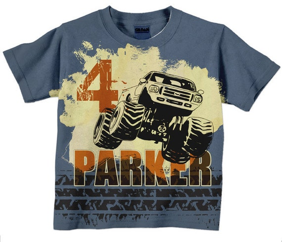 Boys Monster Truck Shirt Personalized Birthday T-Shirt Boys