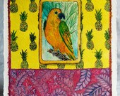 Parrot and Pineapple Original Mixed Media Drawing