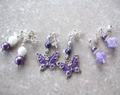 GIRLIE PURPLE- Girls' Post Earring Set-  Millefiore Beads, Pearls, Butterfly Charms and Crystals- Perfect for Easter and Spring
