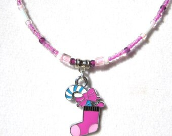 STOCKING STUFFER- Pink and Purple Holiday Necklace- Because it's not too early to shop for the holidays.