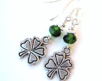 ST. PATRICK's CLOVERS- Charming and Festive Earrings with Emerald Crystals