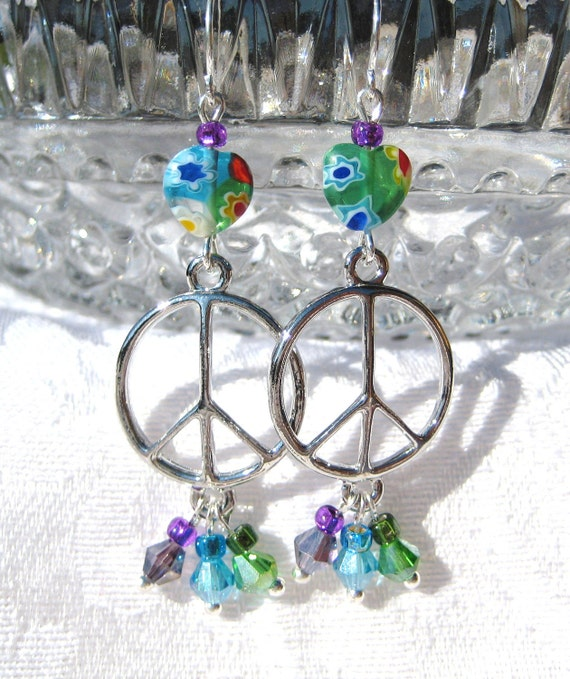 PEACE and BEAUTY- Multicolored Peace Earrings with Swarovski Crystals and Millefiore Hearts
