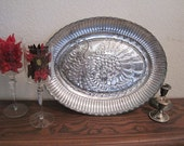 Faux Mercury Glass Vintage Turkey Platter - Home Decor - Thanksgiving