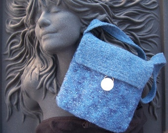 Blue Tweed with Pearl Button Felted Purse