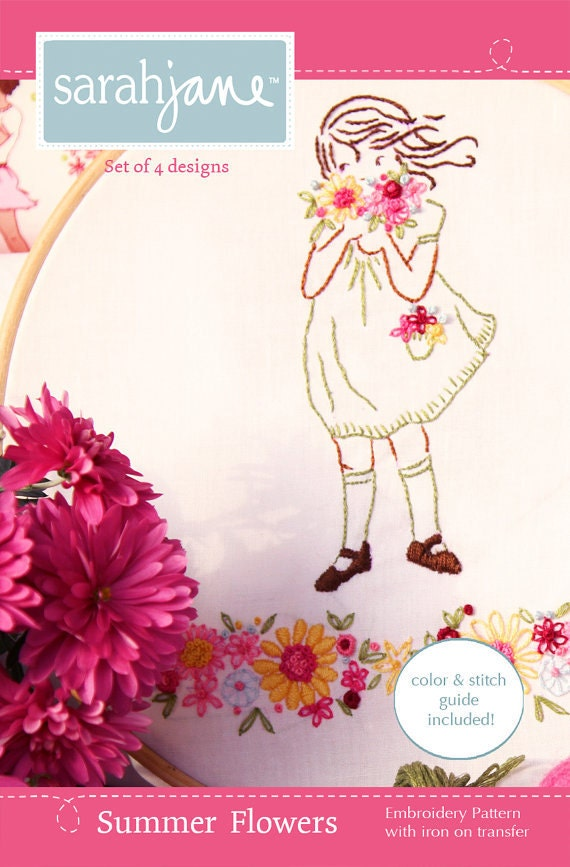"""EMBROIDERY Sarah Jane Embroidery Pattern """"Summer Flowers"""""""