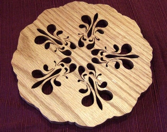 Oak or Walnut Wooden Trivet Hot Plate- Snowflake Flower Scallop Edge