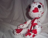 Little Big Planet Inspired Sackboy Red Heart Cotton Print Fabric Sackdoll with Zipper and Posable Arms Handstitched LBP
