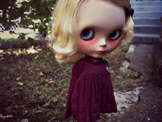 Handmade  Short Burgundy Gauze Ophelia Dress for Blythe or Skipper