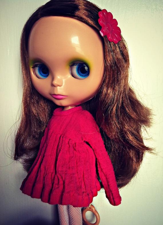 Handmade Short Fierce Fuschia Gauze Ophelia Dress for Blythe or Skipper