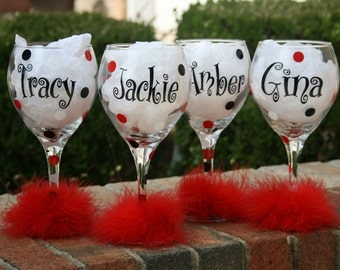 6 Bride and Bridesmaids Personalized Polka Dot Wine Glasses
