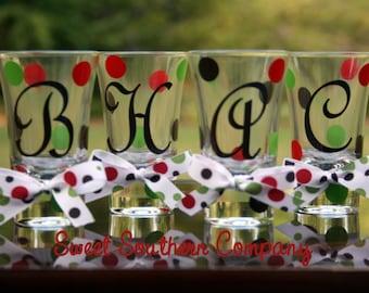 8 Personalized Polka Dot Shot Glasses