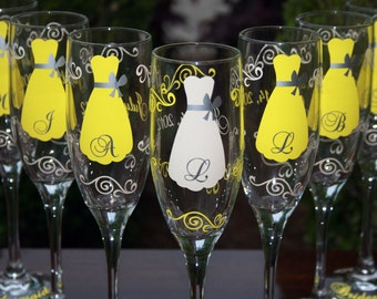10 Personalized Bridesmaid Champagne Flutes with Strapless Gown