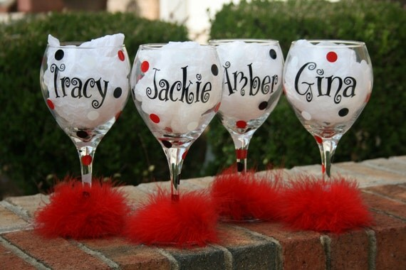 Set of 6 Bridal Party Wine Glasses,  The Perfect Bridesmaids Gift