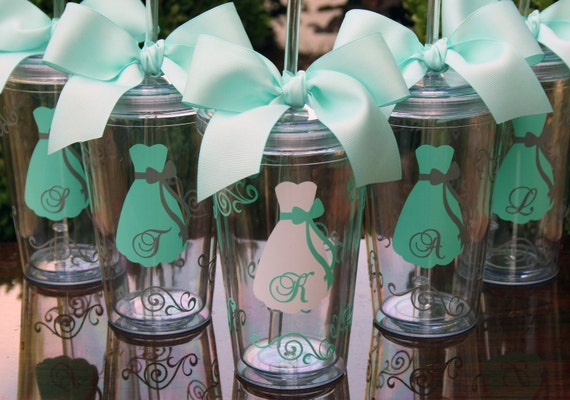 6 Personalized Bride and Bridesmaids Acrylic Tumblers
