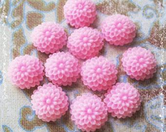 24 Resin Chrysanthemum Mum Flower Cabochons Accessory  10x4.5mm