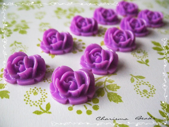 42 Resin Roses Cabochons  Flower Accessory  18x17x8mm