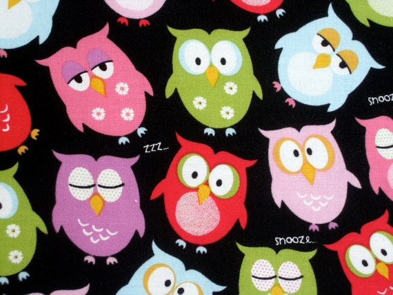 NIGHT OWL Fabric Covered Binder 1 inch 3 Ring Binder