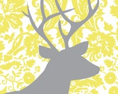 "Damask Series: ""Trophy Room"" Gray & Yellow 11x14"