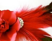 Deep Red Rose Vintage Glamour Brooch Fascinator