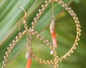 Natural Coral Branch Beaded Teardrop Hoop Earrings